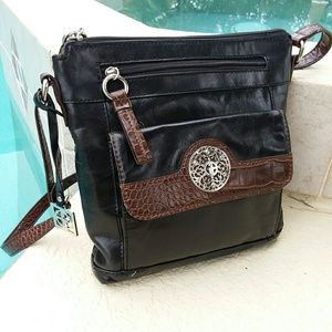 GIANNI BINI Black Leather Crossbody Handbag